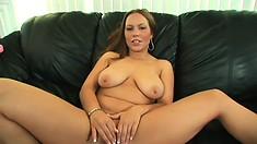 Big tit Kaylee fingers herself, eats his big black rod and gets hammered