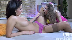 Cute and delicious donah Charlotte is fiddling lusty frail Barbara