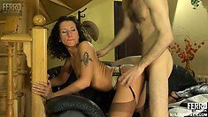 Regina A bends over and lets horny Peter B fuck her from behind