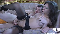 Petite brunette in black stockings Jen has Rolf spoon fucking her pussy