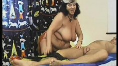 Chubby mature woman seduces a young stud and has him fucking her cunt